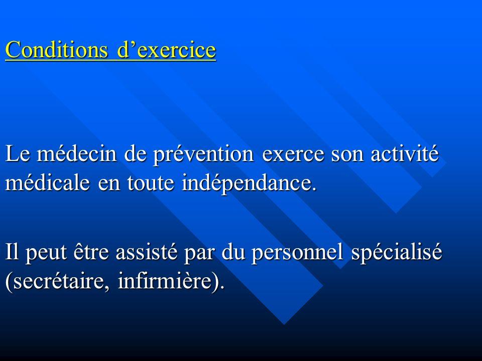 Conditions dexercice Le médecin de prévention exerce son activité médicale en toute indépendance.