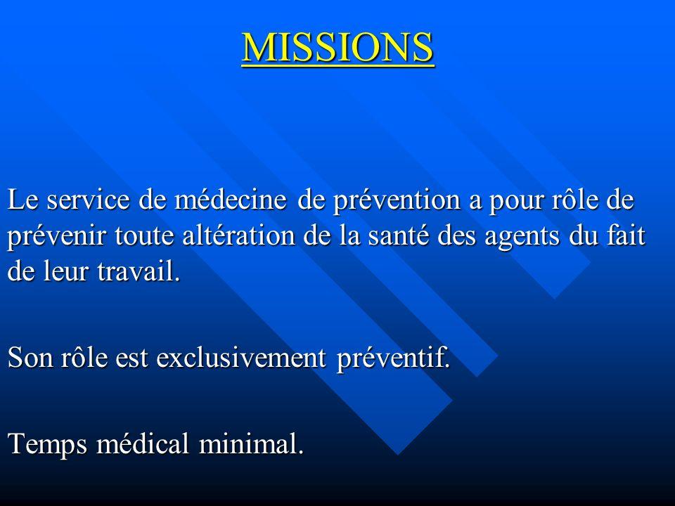 MISSIONS Le service de médecine de prévention a pour rôle de prévenir toute altération de la santé des agents du fait de leur travail.
