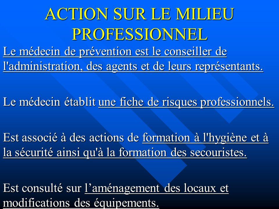 ACTION SUR LE MILIEU PROFESSIONNEL Le médecin de prévention est le conseiller de l administration, des agents et de leurs représentants.