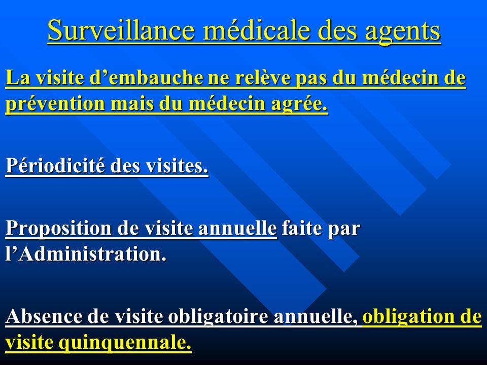Surveillance médicale des agents La visite dembauche ne relève pas du médecin de prévention mais du médecin agrée.