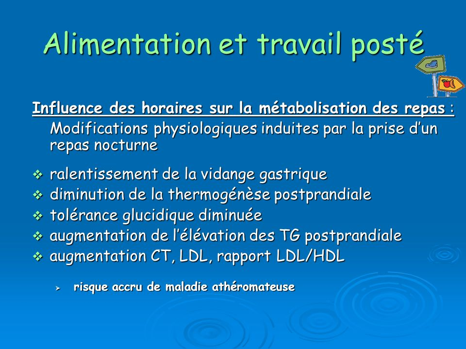 Influence des horaires sur la métabolisation des repas : Modifications physiologiques induites par la prise dun repas nocturne ralentissement de la vidange gastrique ralentissement de la vidange gastrique diminution de la thermogénèse postprandiale diminution de la thermogénèse postprandiale tolérance glucidique diminuée tolérance glucidique diminuée augmentation de lélévation des TG postprandiale augmentation de lélévation des TG postprandiale augmentation CT, LDL, rapport LDL/HDL augmentation CT, LDL, rapport LDL/HDL risque accru de maladie athéromateuse risque accru de maladie athéromateuse Alimentation et travail posté