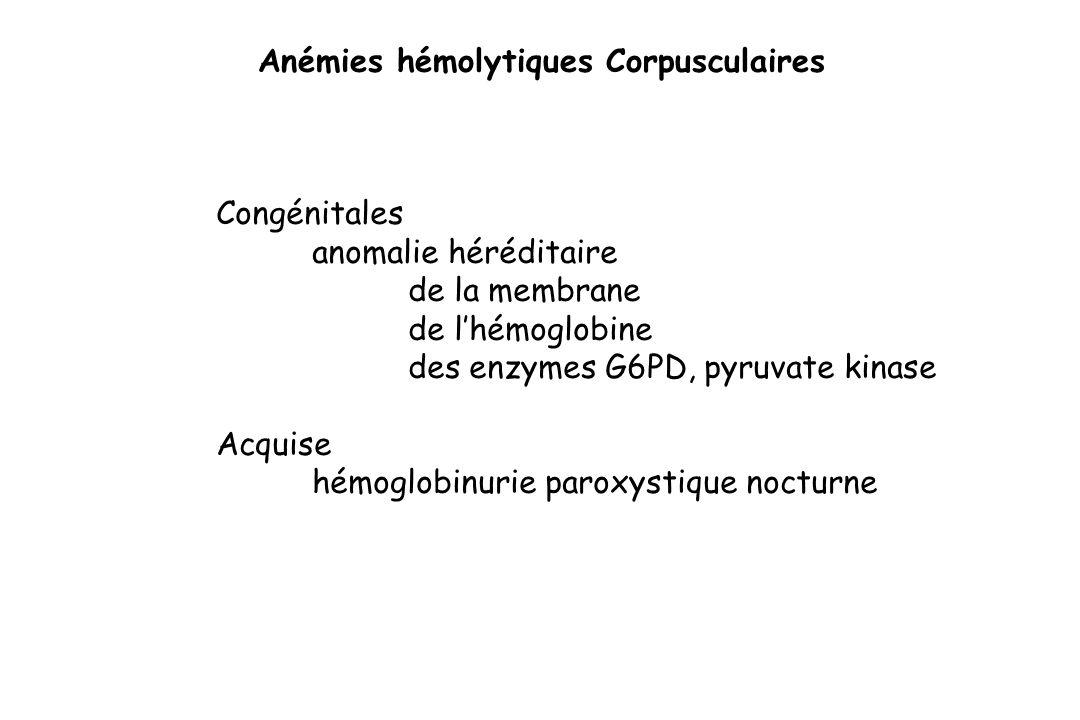 Anémies hémolytiques Corpusculaires Congénitales anomalie héréditaire de la membrane de lhémoglobine des enzymes G6PD, pyruvate kinase Acquise hémoglo