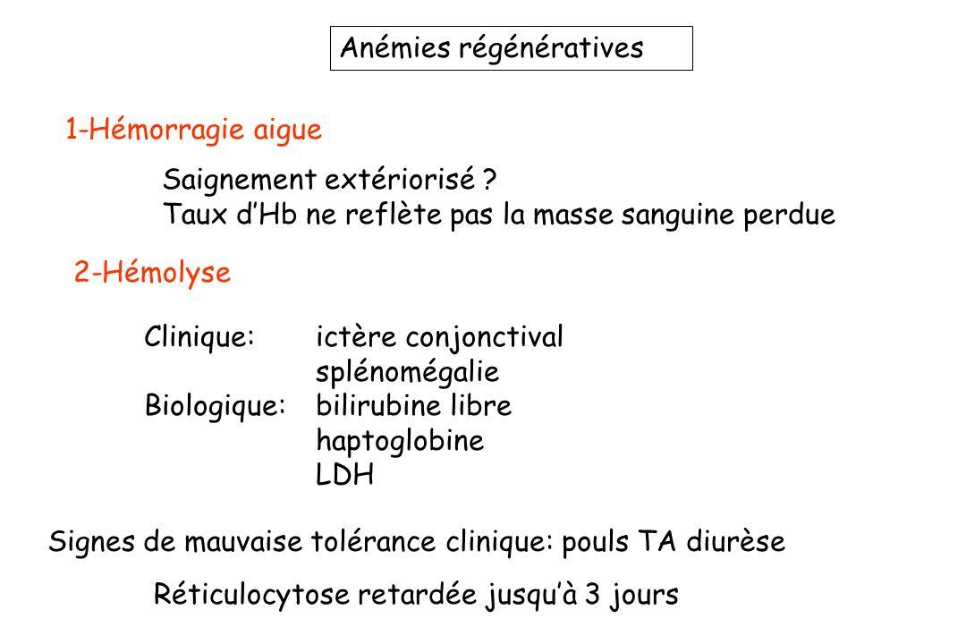 Anémies régénératives 1-Hémorragie aigue Saignement extériorisé ? Taux dHb ne reflète pas la masse sanguine perdue Réticulocytose retardée jusquà 3 jo