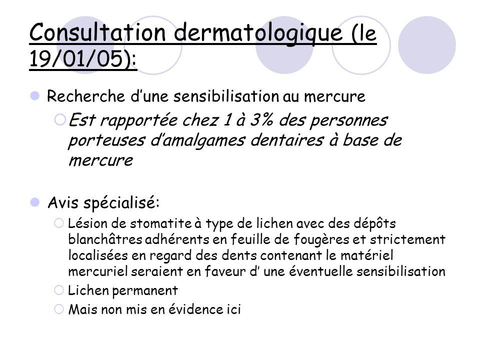 Consultation dermatologique (le 19/01/05): Recherche dune sensibilisation au mercure Est rapportée chez 1 à 3% des personnes porteuses damalgames dent