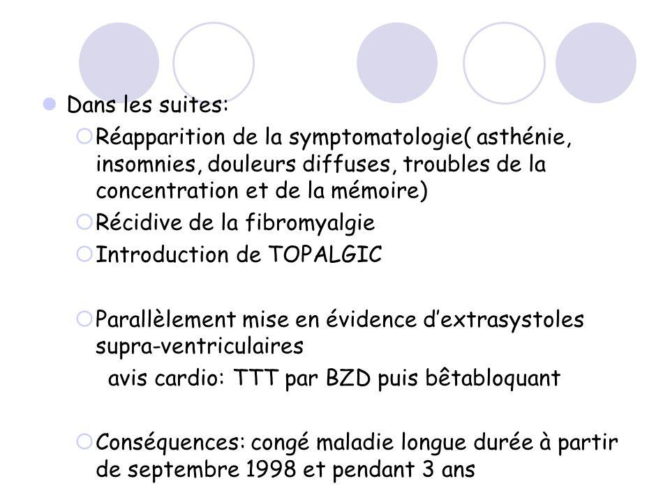 Dans les suites: Réapparition de la symptomatologie( asthénie, insomnies, douleurs diffuses, troubles de la concentration et de la mémoire) Récidive d