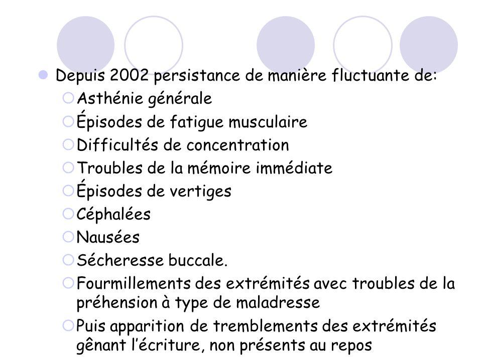 Depuis 2002 persistance de manière fluctuante de: Asthénie générale Épisodes de fatigue musculaire Difficultés de concentration Troubles de la mémoire