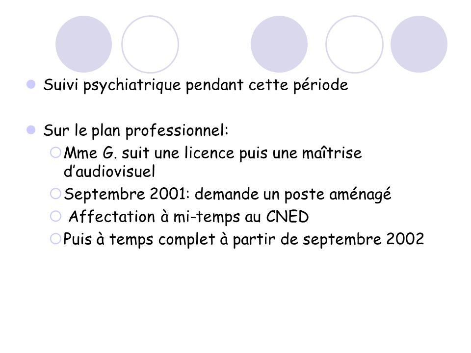 Suivi psychiatrique pendant cette période Sur le plan professionnel: Mme G. suit une licence puis une maîtrise daudiovisuel Septembre 2001: demande un