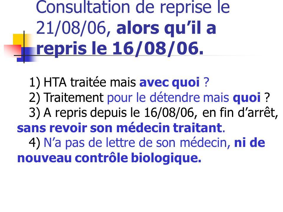 Consultation de reprise le 21/08/06, alors quil a repris le 16/08/06. 1) HTA traitée mais avec quoi ? 2) Traitement pour le détendre mais quoi ? 3) A