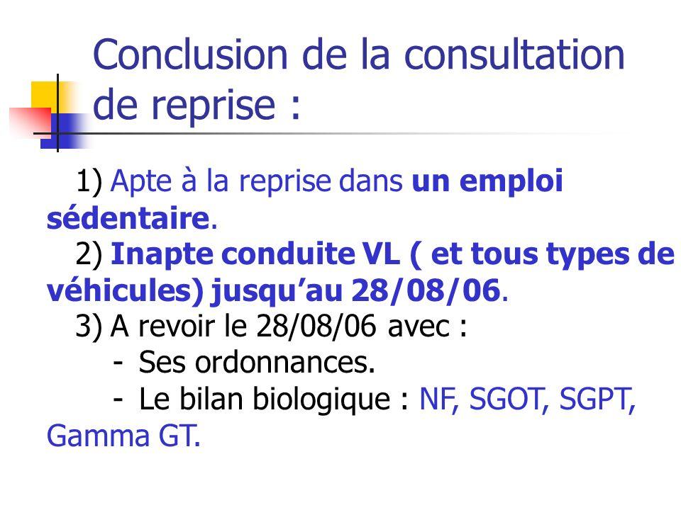 Conclusion de la consultation de reprise : 1) Apte à la reprise dans un emploi sédentaire. 2) Inapte conduite VL ( et tous types de véhicules) jusquau