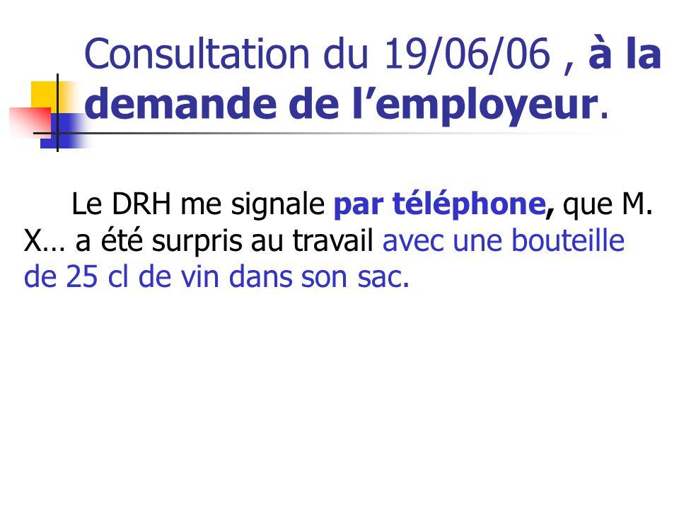 Consultation du 19/06/06, à la demande de lemployeur. Le DRH me signale par téléphone, que M. X… a été surpris au travail avec une bouteille de 25 cl