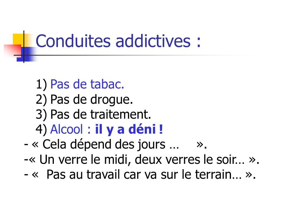 Conduites addictives : 1) Pas de tabac. 2) Pas de drogue. 3) Pas de traitement. 4) Alcool : il y a déni ! - « Cela dépend des jours … ». -« Un verre l