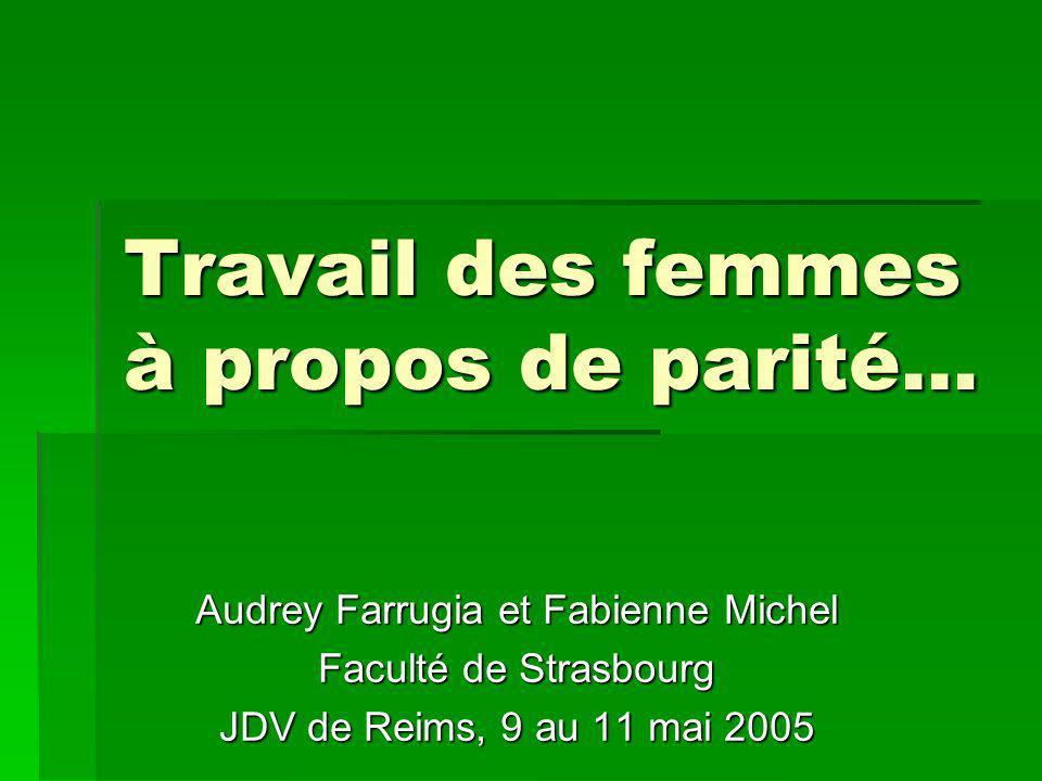 Travail des femmes à propos de parité… Audrey Farrugia et Fabienne Michel Faculté de Strasbourg JDV de Reims, 9 au 11 mai 2005