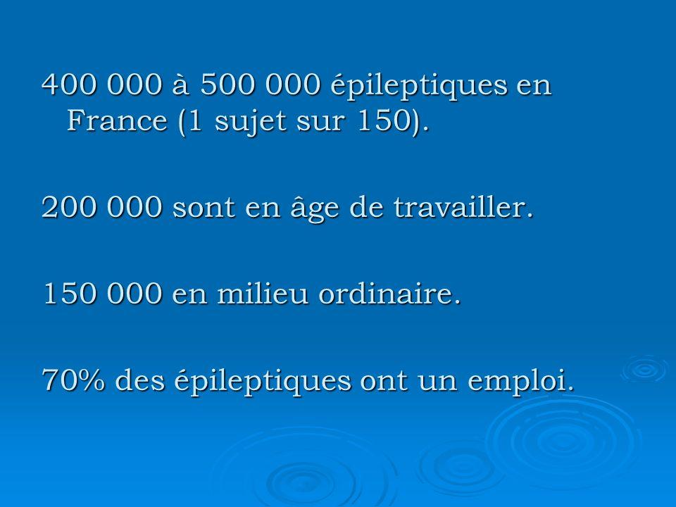 400 000 à 500 000 épileptiques en France (1 sujet sur 150). 200 000 sont en âge de travailler. 150 000 en milieu ordinaire. 70% des épileptiques ont u