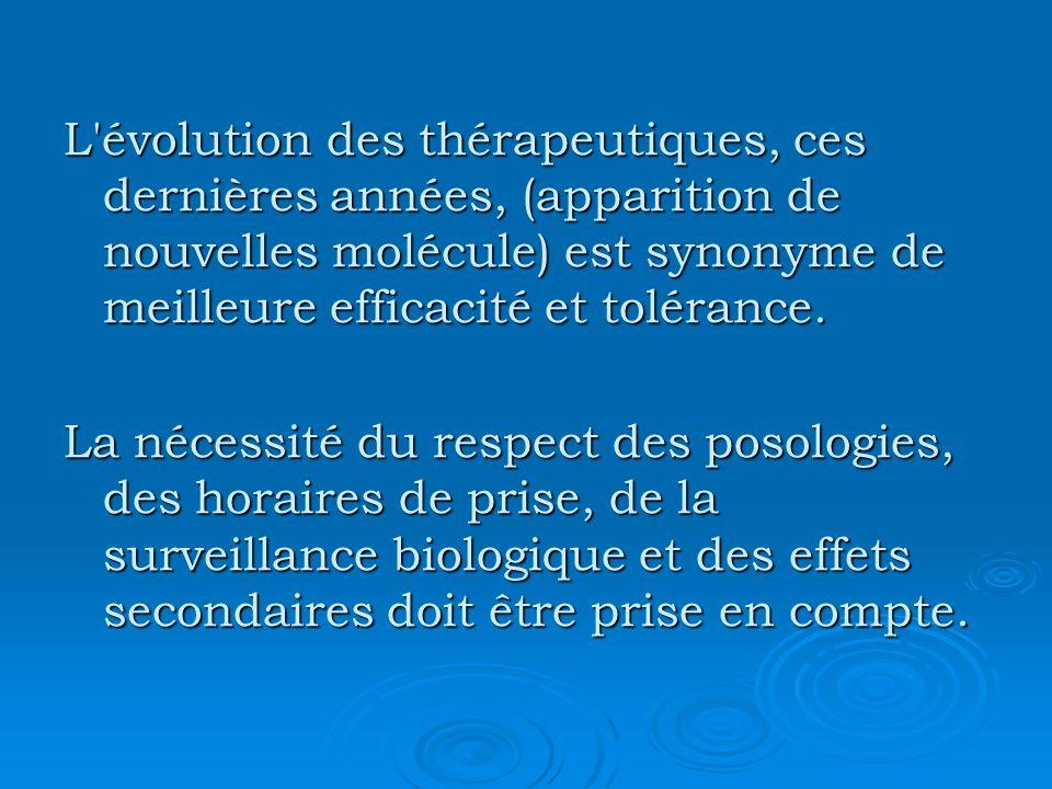 L'évolution des thérapeutiques, ces dernières années, (apparition de nouvelles molécule) est synonyme de meilleure efficacité et tolérance. La nécessi