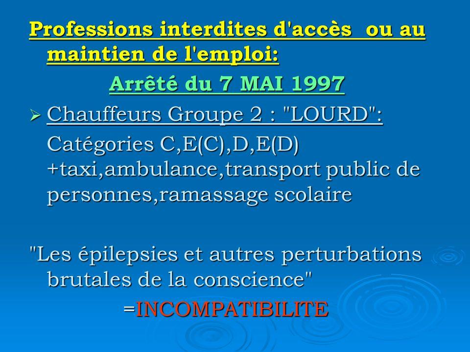 Professions interdites d'accès ou au maintien de l'emploi: Arrêté du 7 MAI 1997 Arrêté du 7 MAI 1997 Chauffeurs Groupe 2 :
