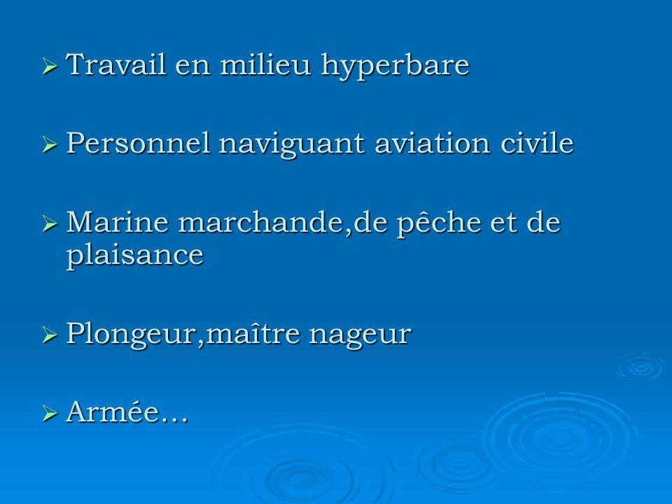 Travail en milieu hyperbare Travail en milieu hyperbare Personnel naviguant aviation civile Personnel naviguant aviation civile Marine marchande,de pê