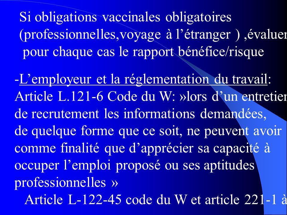 Si obligations vaccinales obligatoires (professionnelles,voyage à létranger ),évaluer pour chaque cas le rapport bénéfice/risque -Lemployeur et la réglementation du travail: Article L.121-6 Code du W: »lors dun entretien de recrutement les informations demandées, de quelque forme que ce soit, ne peuvent avoir comme finalité que dapprécier sa capacité à occuper lemploi proposé ou ses aptitudes professionnelles » Article L-122-45 code du W et article 221-1 à