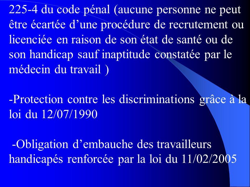 225-4 du code pénal (aucune personne ne peut être écartée dune procédure de recrutement ou licenciée en raison de son état de santé ou de son handicap sauf inaptitude constatée par le médecin du travail ) -Protection contre les discriminations grâce à la loi du 12/07/1990 -Obligation dembauche des travailleurs handicapés renforcée par la loi du 11/02/2005