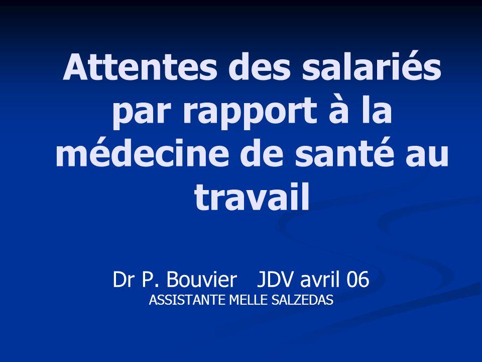 Attentes des salariés par rapport à la médecine de santé au travail Dr P. Bouvier JDV avril 06 ASSISTANTE MELLE SALZEDAS