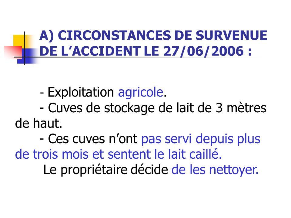 A) CIRCONSTANCES DE SURVENUE DE LACCIDENT LE 27/06/2006 : - Exploitation agricole. - Cuves de stockage de lait de 3 mètres de haut. - Ces cuves nont p
