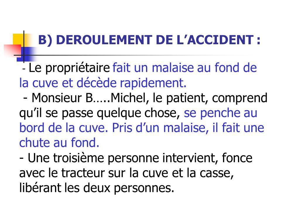 B) DEROULEMENT DE LACCIDENT : - Le propriétaire fait un malaise au fond de la cuve et décède rapidement. - Monsieur B…..Michel, le patient, comprend q