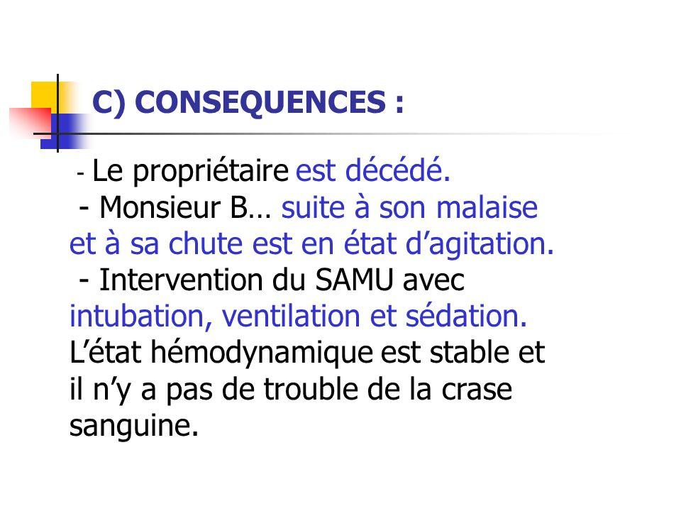 C) CONSEQUENCES : - Le propriétaire est décédé. - Monsieur B… suite à son malaise et à sa chute est en état dagitation. - Intervention du SAMU avec in