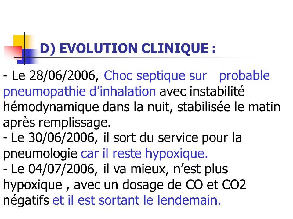 D) EVOLUTION CLINIQUE : - Le 28/06/2006, Choc septique sur probable pneumopathie dinhalation avec instabilité hémodynamique dans la nuit, stabilisée l