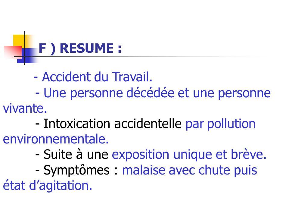F ) RESUME : - Accident du Travail. - Une personne décédée et une personne vivante. - Intoxication accidentelle par pollution environnementale. - Suit