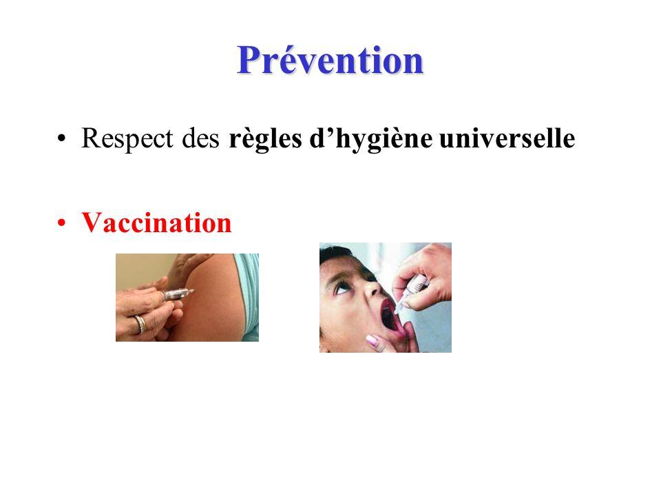 Prévention Respect des règles dhygiène universelle Vaccination