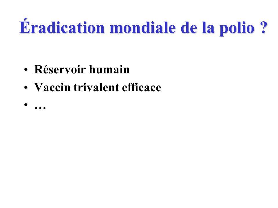 Éradication mondiale de la polio ? Réservoir humain Vaccin trivalent efficace …
