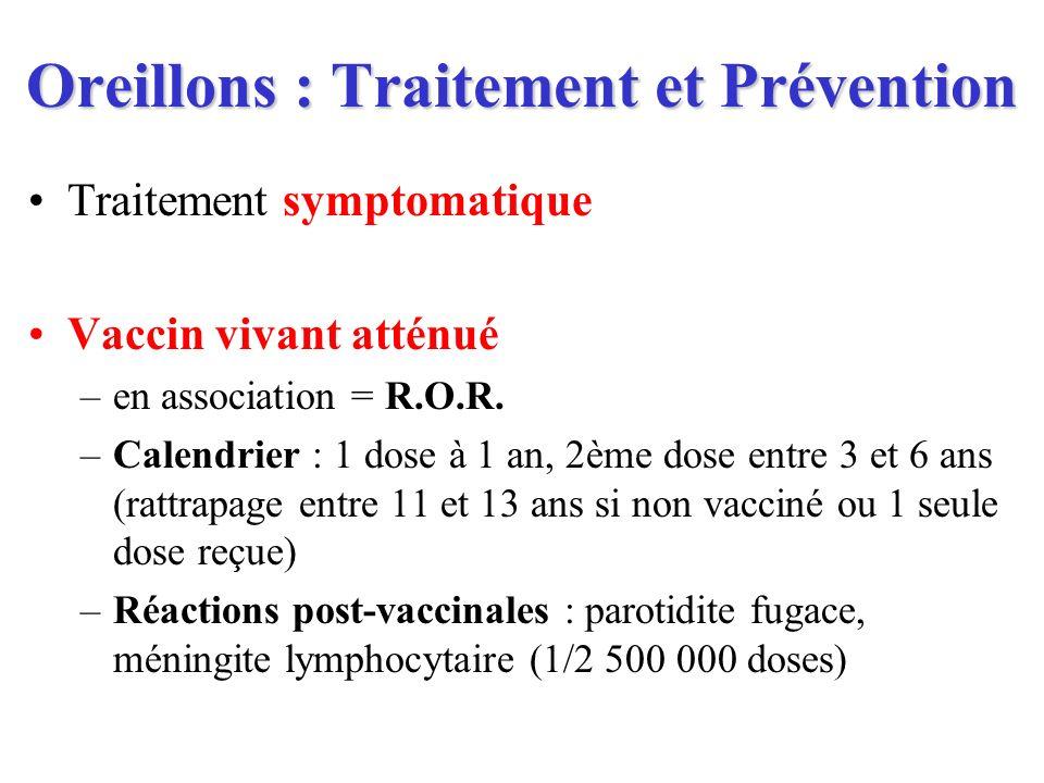 Oreillons : Traitement et Prévention Traitement symptomatique Vaccin vivant atténué –en association = R.O.R. –Calendrier : 1 dose à 1 an, 2ème dose en