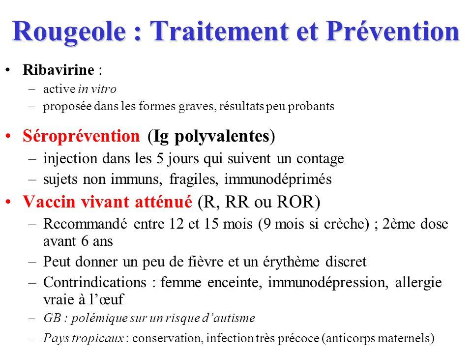 Rougeole : Traitement et Prévention Ribavirine : –active in vitro –proposée dans les formes graves, résultats peu probants Séroprévention (Ig polyvale