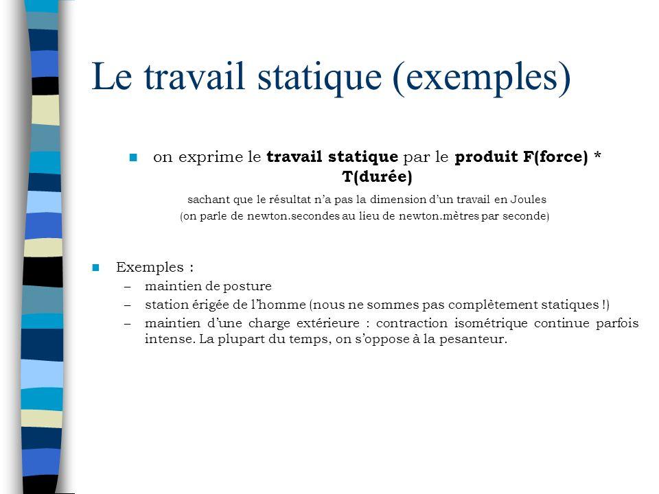 Le travail statique (exemples) on exprime le travail statique par le produit F(force) * T(durée) sachant que le résultat na pas la dimension dun trava
