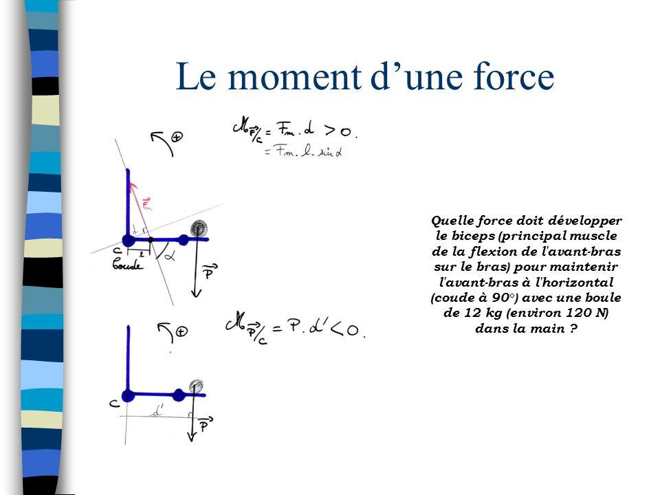 Le moment dune force Quelle force doit développer le biceps (principal muscle de la flexion de l'avant-bras sur le bras) pour maintenir l'avant-bras à