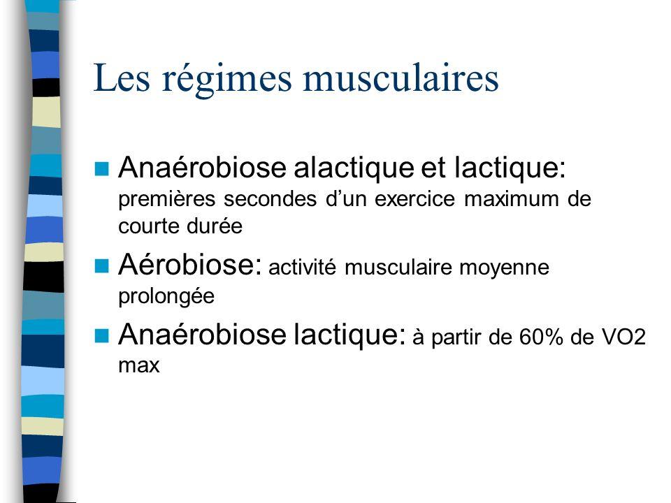 Les régimes musculaires Anaérobiose alactique et lactique: premières secondes dun exercice maximum de courte durée Aérobiose: activité musculaire moyenne prolongée Anaérobiose lactique: à partir de 60% de VO2 max