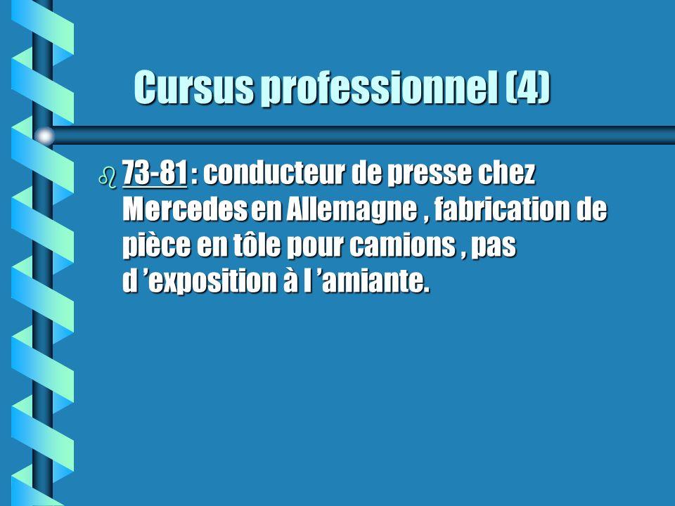 Cursus professionnel (4) Cursus professionnel (4) b 73-81 : conducteur de presse chez Mercedes en Allemagne, fabrication de pièce en tôle pour camions