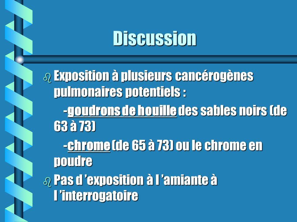 Discussion Discussion b Exposition à plusieurs cancérogènes pulmonaires potentiels : -goudrons de houille des sables noirs (de 63 à 73) -goudrons de h