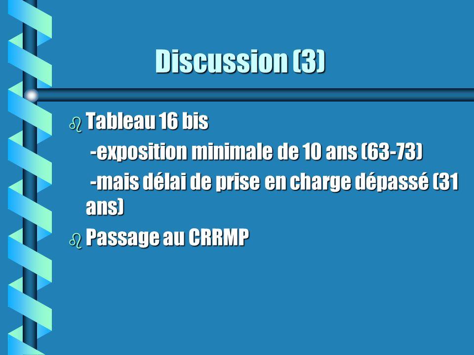 Discussion (3) Discussion (3) b Tableau 16 bis -exposition minimale de 10 ans (63-73) -exposition minimale de 10 ans (63-73) -mais délai de prise en c