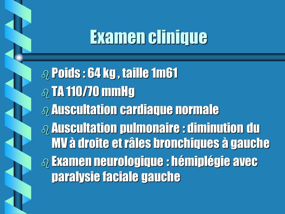 Examen clinique Examen clinique b Poids : 64 kg, taille 1m61 b TA 110/70 mmHg b Auscultation cardiaque normale b Auscultation pulmonaire : diminution