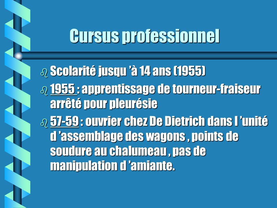Cursus professionnel Cursus professionnel b Scolarité jusqu à 14 ans (1955) b 1955 : apprentissage de tourneur-fraiseur arrêté pour pleurésie b 57-59