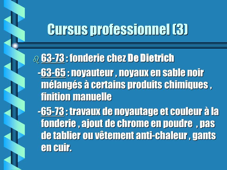 Cursus professionnel (3) Cursus professionnel (3) b 63-73 : fonderie chez De Dietrich -63-65 : noyauteur, noyaux en sable noir mélangés à certains pro