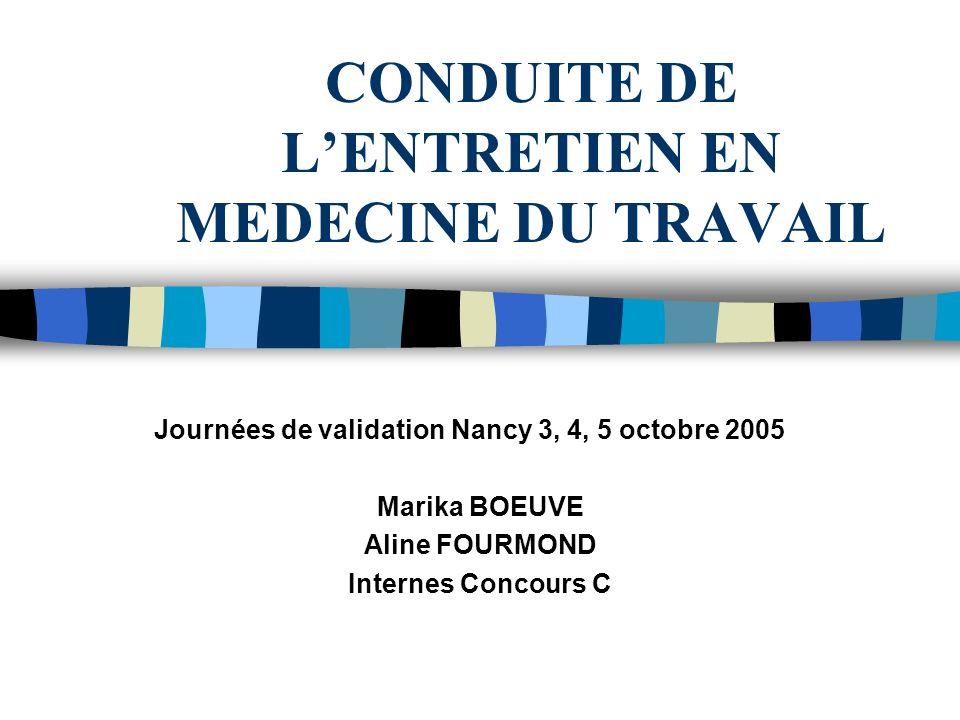 CONDUITE DE LENTRETIEN EN MEDECINE DU TRAVAIL Journées de validation Nancy 3, 4, 5 octobre 2005 Marika BOEUVE Aline FOURMOND Internes Concours C