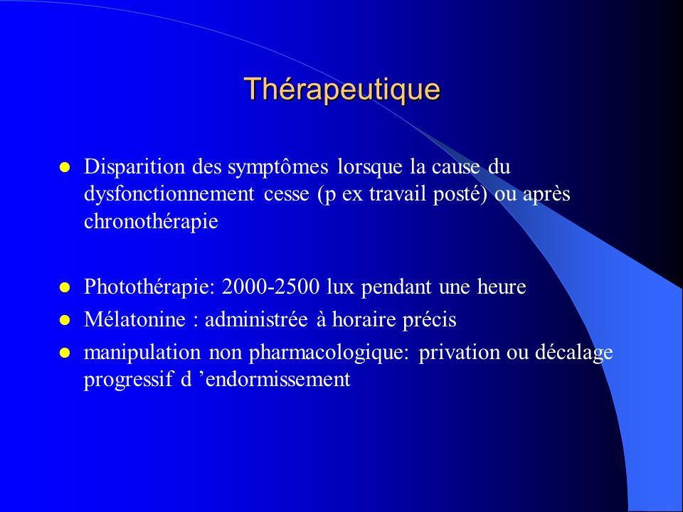 Thérapeutique Disparition des symptômes lorsque la cause du dysfonctionnement cesse (p ex travail posté) ou après chronothérapie Photothérapie: 2000-2