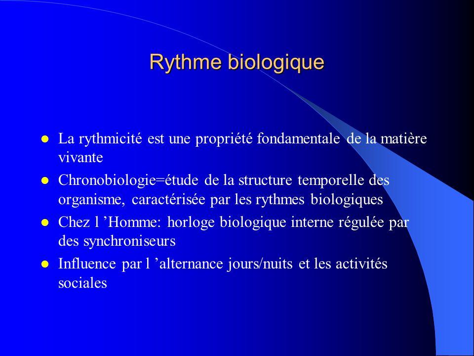 Rythme biologique La rythmicité est une propriété fondamentale de la matière vivante Chronobiologie=étude de la structure temporelle des organisme, ca