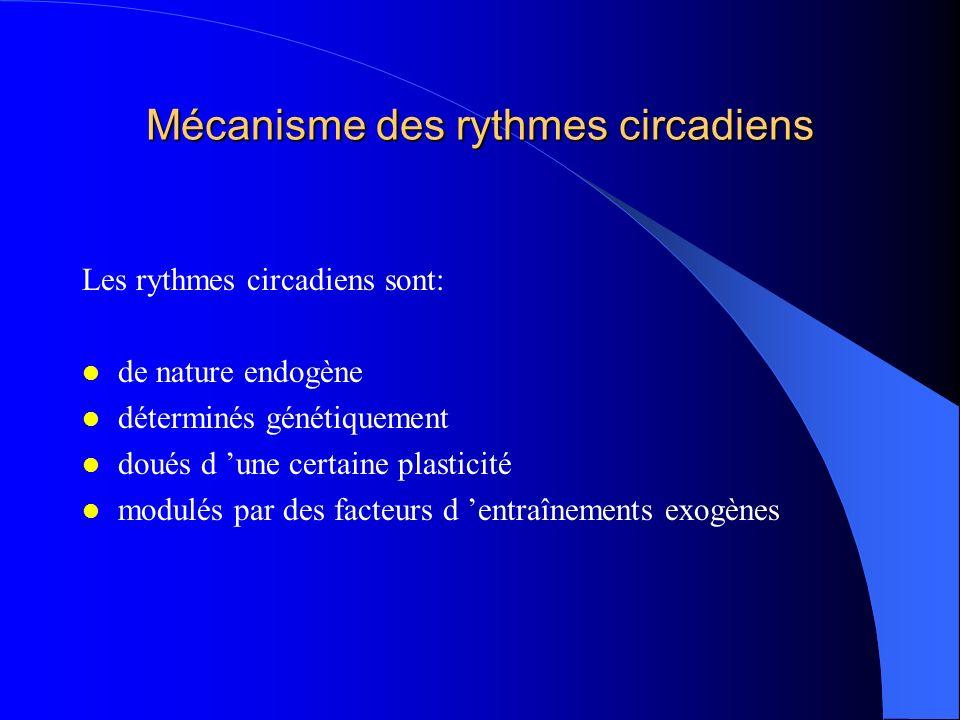 Mécanisme des rythmes circadiens Les rythmes circadiens sont: de nature endogène déterminés génétiquement doués d une certaine plasticité modulés par
