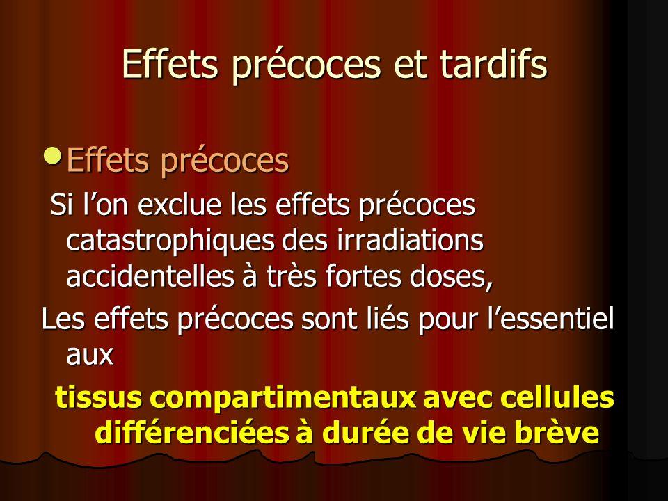 Effets précoces et tardifs Effets précoces Effets précoces Si lon exclue les effets précoces catastrophiques des irradiations accidentelles à très for