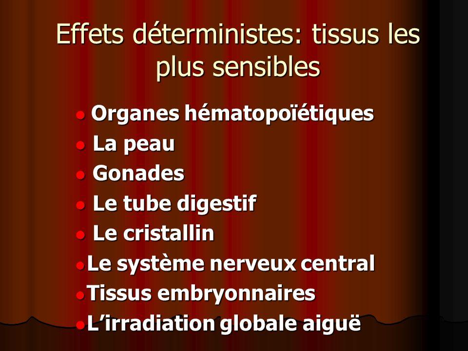 Effets déterministes: tissus les plus sensibles Organes hématopoïétiques Organes hématopoïétiques La peau La peau Gonades Gonades Le tube digestif Le