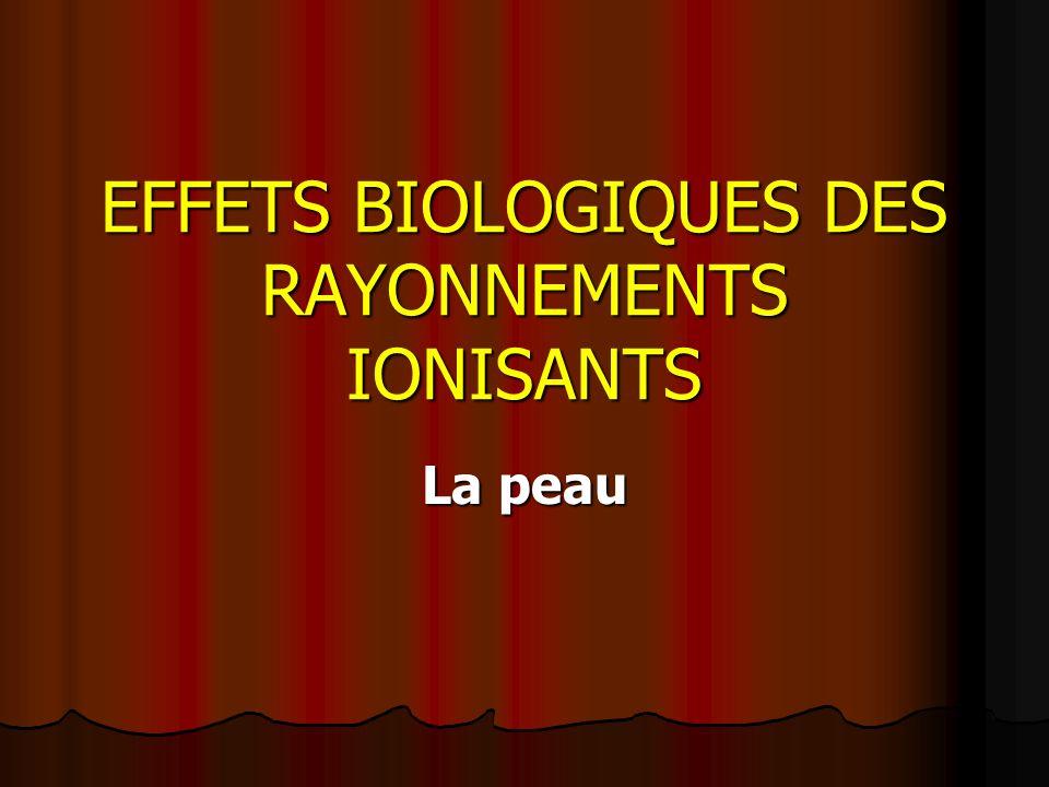 EFFETS BIOLOGIQUES DES RAYONNEMENTS IONISANTS La peau