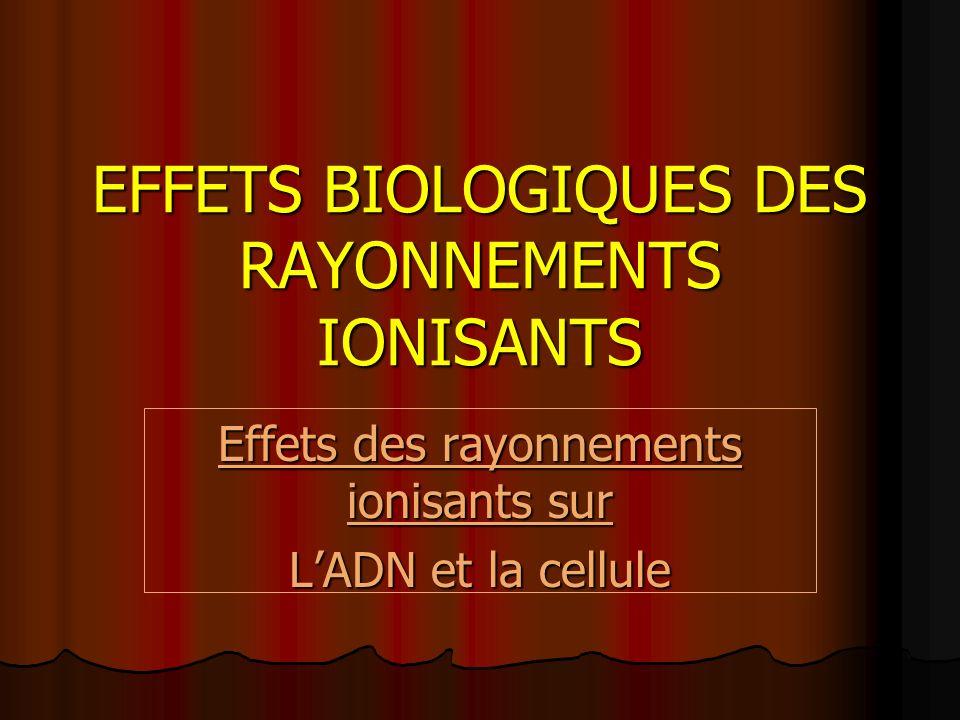EFFETS BIOLOGIQUES DES RAYONNEMENTS IONISANTS Effets des rayonnements ionisants sur LADN et la cellule