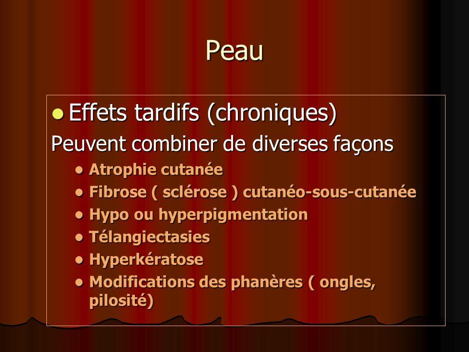 Peau Effets tardifs (chroniques) Effets tardifs (chroniques) Peuvent combiner de diverses façons Atrophie cutanée Atrophie cutanée Fibrose ( sclérose